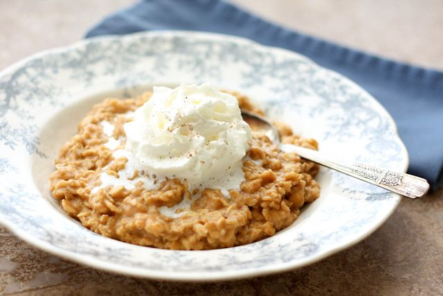 Pumpkin Pie Oatmeal with Vanilla Whipped Cream - get the recipe at barefeetinthekitchen.com