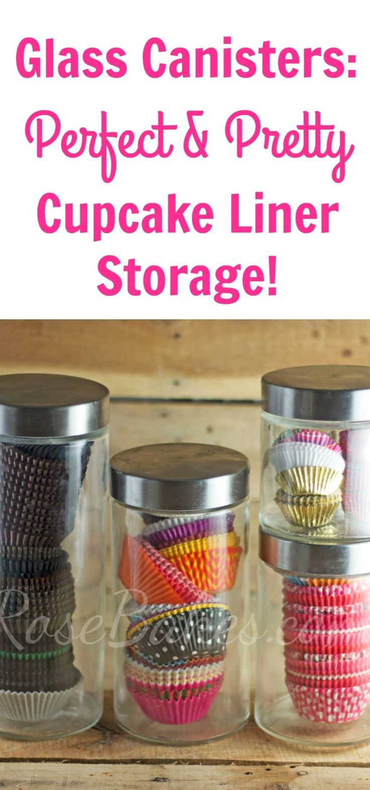Glass Containers Perfect and Pretty Cupcake Liner Storage
