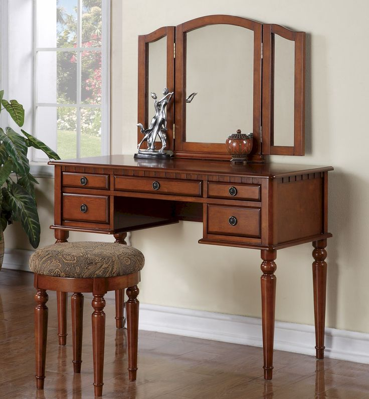 Elegant Vanity Set Make Up Table With 5 Drawers, Stool And Mirror    Furniture.