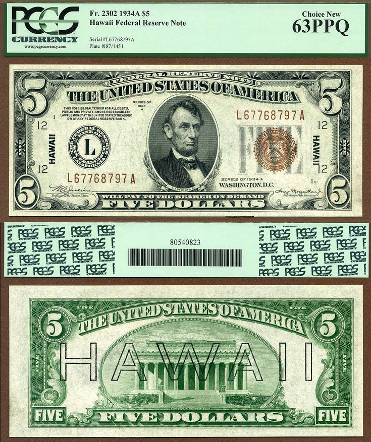 1934A $5 Hawaii Federal Reserve Note FR-2302 PCGS Graded Choice New 63PPQ  S/N L 67768797 A