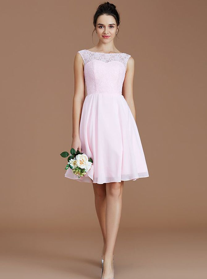 3f98c2ac0e6 Blush Pink Short Bridesmaid Dresses Modest