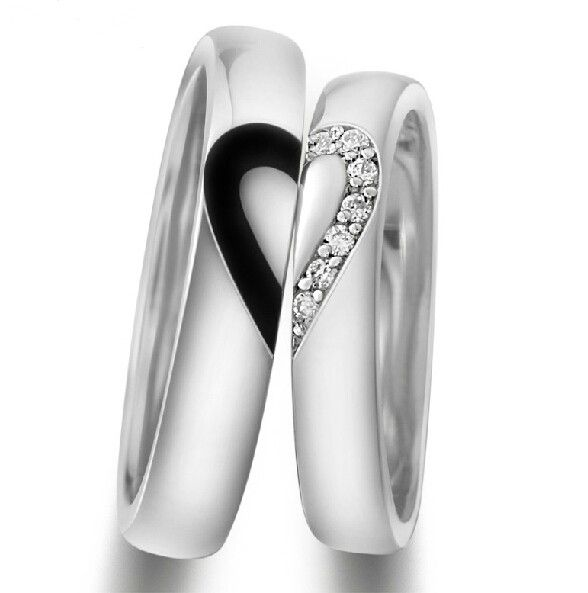 Unique 925 Sterling Silver White Gold Plated Lover's Heart Couple Rings(Price for One Pair) - Love Rings