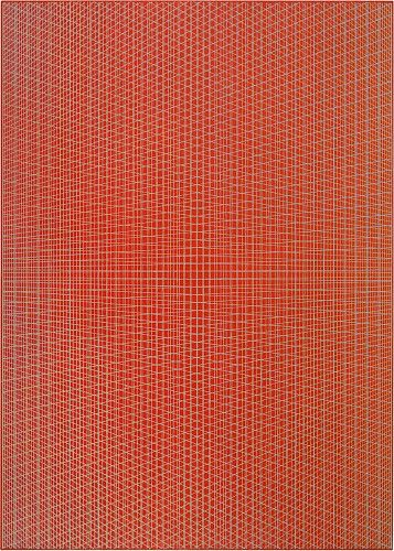 Sara Eichner, vertical red intersection 2014, oil on linen over panel