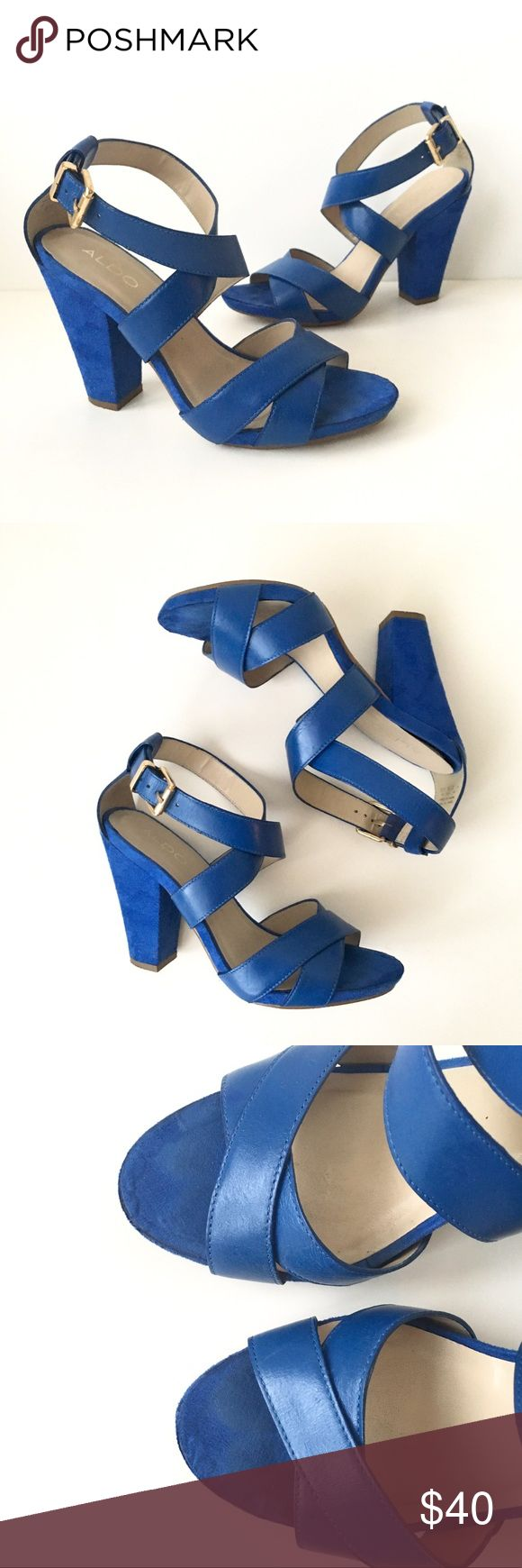 """Aldo Blue Leather & Suede Heeled Sandal In good used condition. Perfect to add a pop of color to your outfit. Spring/summer shoe. Comfortable chunky block heel. Worn approx 10 times. Some wear around toe area and wrinkling where manufacturer glued fabric. Please inspect all photos carefully for signs of wear! As far as I remember, they are real leather straps.   Heel height: approx 4""""  Fit TTS. I am normally 6.5/7 and these fit perfectly.  Open to offers or bundle for a private discount…"""