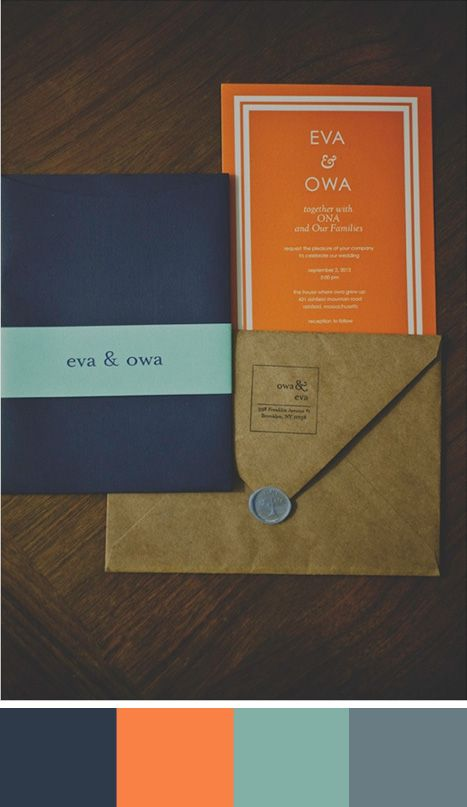 In this wedding stationery navy blue adds a sophisticated and classic touch while orange adds a contemporary flair. Source: wedding chicks. #weddingstationery #celosiaorange
