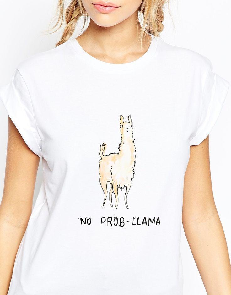 Image 3 ofASOS T-Shirt In Longline With No Prob-Llama Print