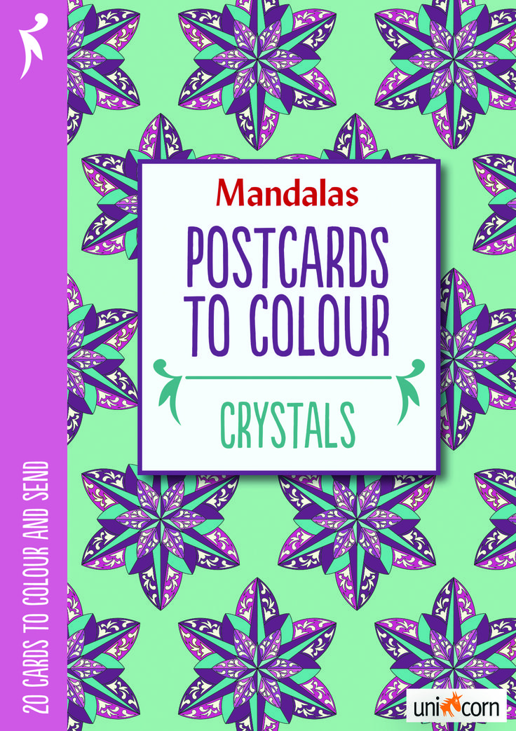 Mandalas malebog Postcards to Colour Crystals