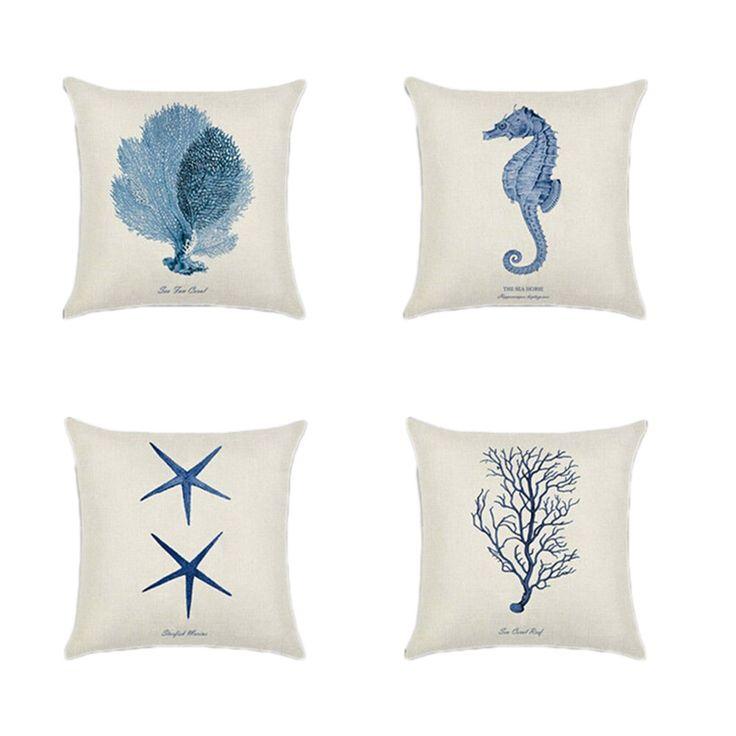 Mediterranean style Cushion Cover Marine Ocean Sea Starfish coral Pillowcase Linen Cotton Throw Pillow Cover 45x45cm Home decor #Affiliate