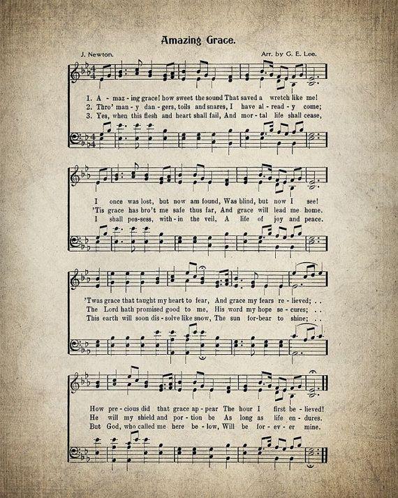 Amazing Grace Hymn Lyrics Sheet Music Art by