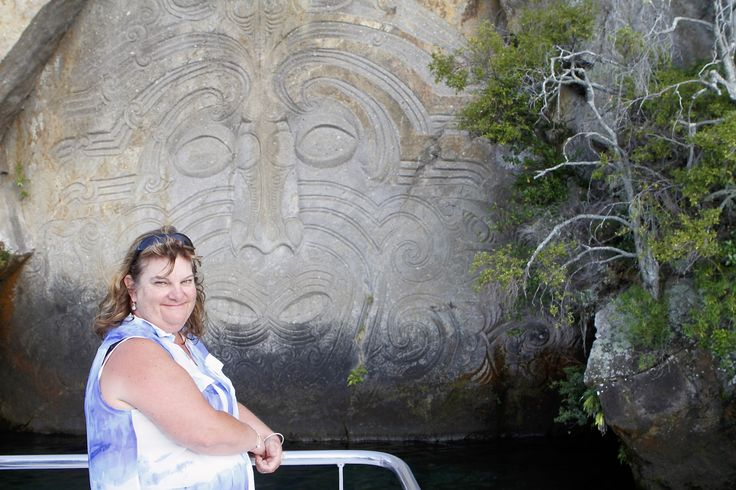 then a boat trip to the Maori carvings across the lake