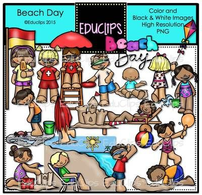 Beach Day Clip Art Bundle from Educlips on TeachersNotebook.com - (38 pages) - Beach Day Clip Art Bundle