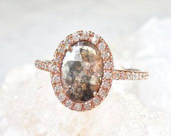 RESERVED for MeganN - Salt and Pepper Diamond Ring, Black Diamond Engagement Ring, Oval Diamond Engagement Ring, Diamond Halo Ring #haloengagementring #diamondhaloring