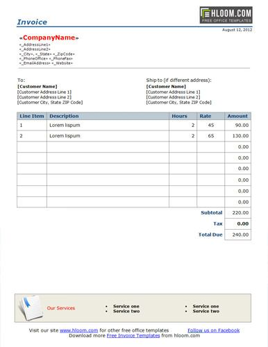 Basic Freelance Word Invoice Template for Hourly Billing with Banner