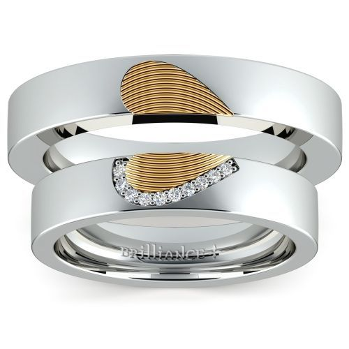 Trendy Matching Heart Fingerprint Inlay Wedding Ring Set in Platinum and Yellow Gold brilliance