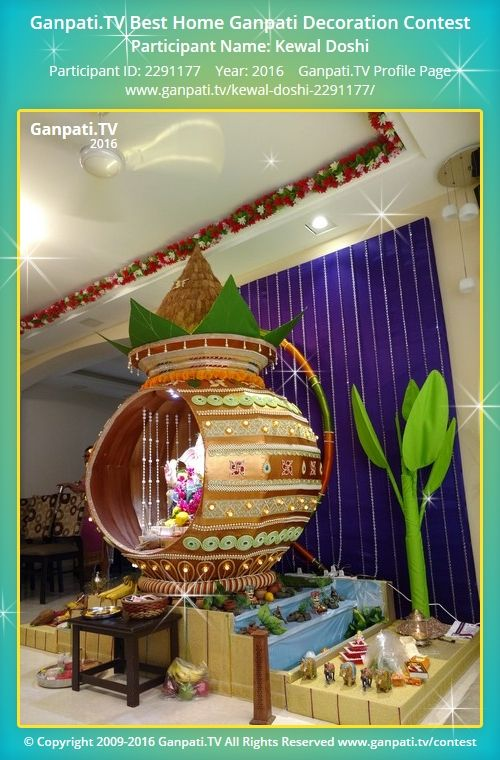 Kewal Doshi Home Ganpati Picture 2016. View more pictures and videos of Ganpati Decoration at www.ganpati.tv