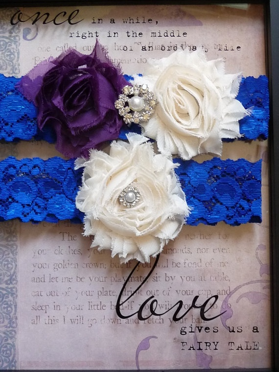 Ivory and Eggplant Purple Wedding Garter Set - Royal Blue Stretch Lace Keepsake Bridal Garter - Shabby Flowers Garter Pearls and Rhinestones via Etsy