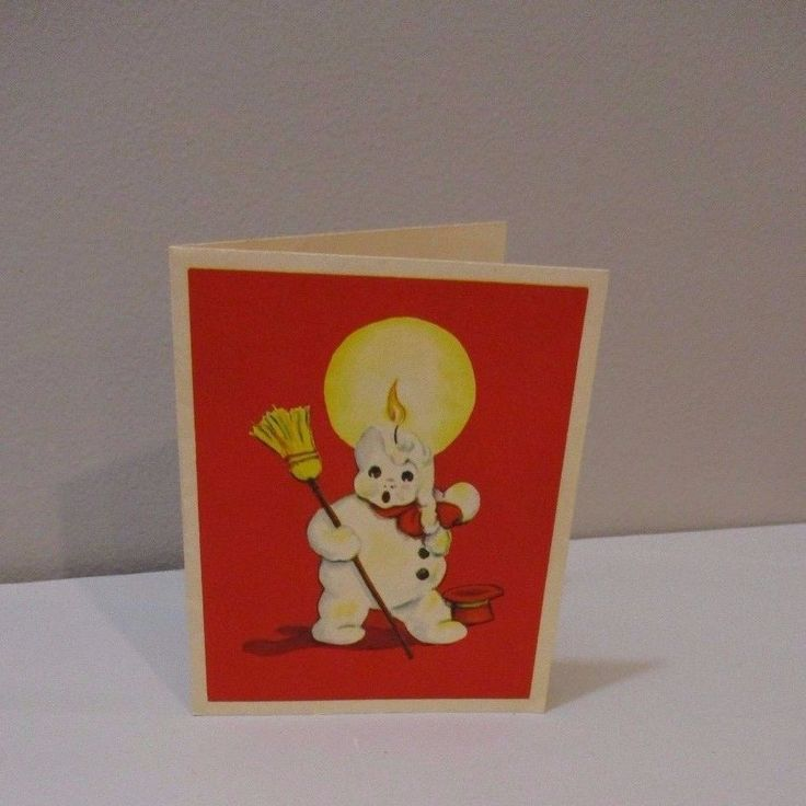 Vtg Christmas Card Hawthorne House Melting Snowman Candle Red Top Hat Broom 50's