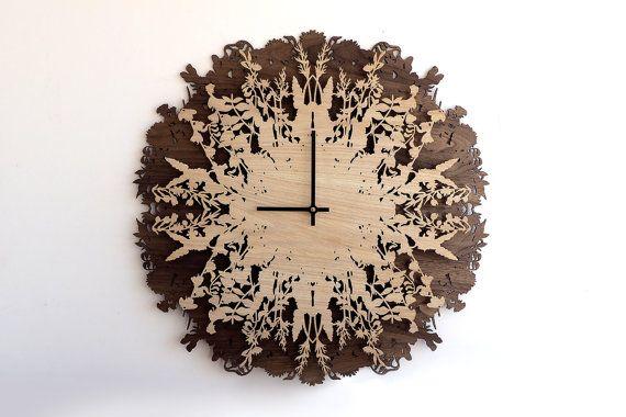 23.6 in Botanica klok, muurklokken, grote Wandklok, Decor van het huis, Gift, moderne Wall Art, hout, planten, Botanic klok