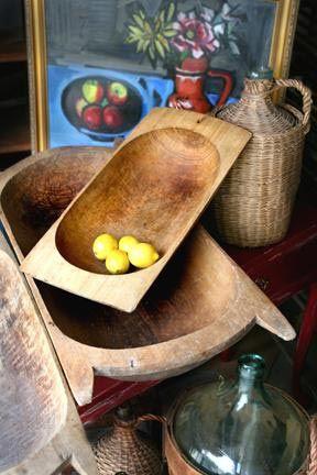 Antique bread bowls as decor