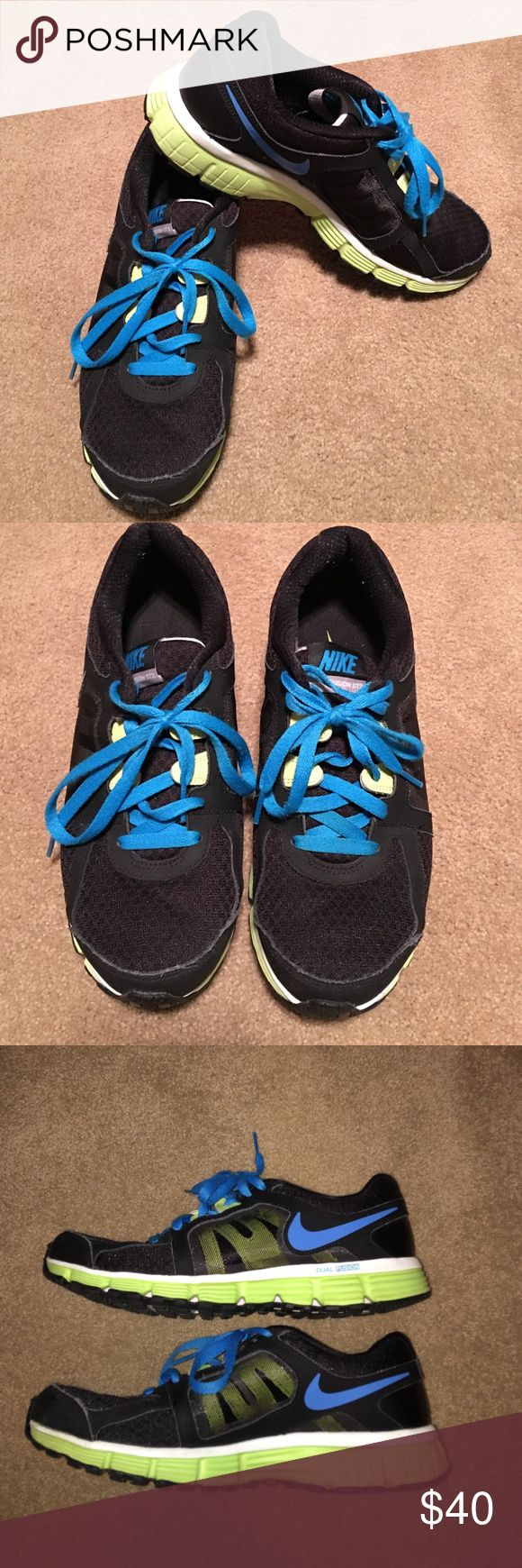 Nike Dual Fusion ST 2. Women's size 9.5 Nike Dual Fusion ST2. Black, turquoise and lime green. Nike waffle outsole. Great condition. Very clean. Nike Shoes Athletic Shoes
