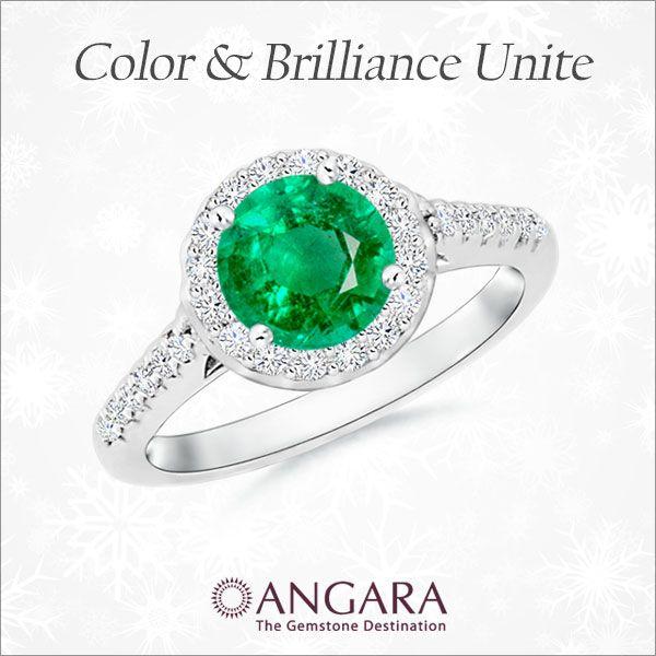 Angara Vintage Style Emerald and Diamond Leaf Ring with Filigree Mj9kt24