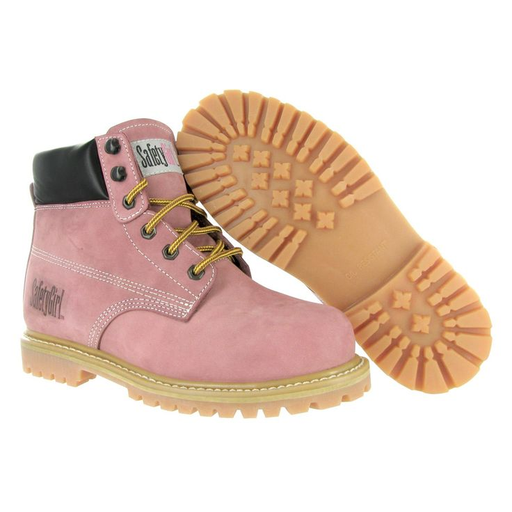 Safety Girl Steel Toe Waterproof Womens Work Boots - Light Pink