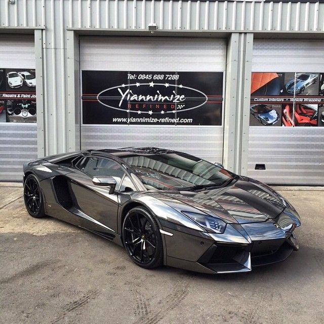 """""""Chrome black Aventador is completed by @yiannimize and ready to go to Lamborghini London with @rue175 and @refusenish. Full wrap with Tron lines and full…"""""""