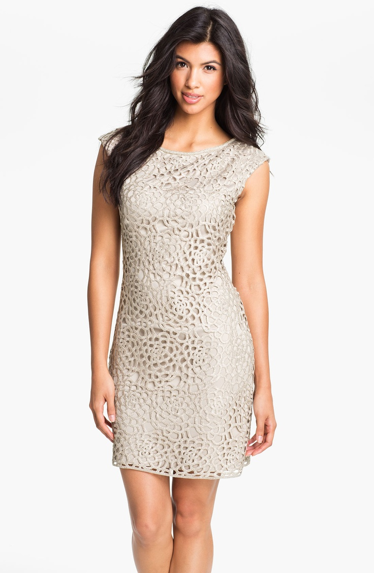 Eliza J: Beaded Neck Crocheted Sheath Dress