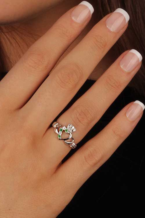 claddagh ring | Sterling Silver Ladies White and Green CZ Claddagh Ring