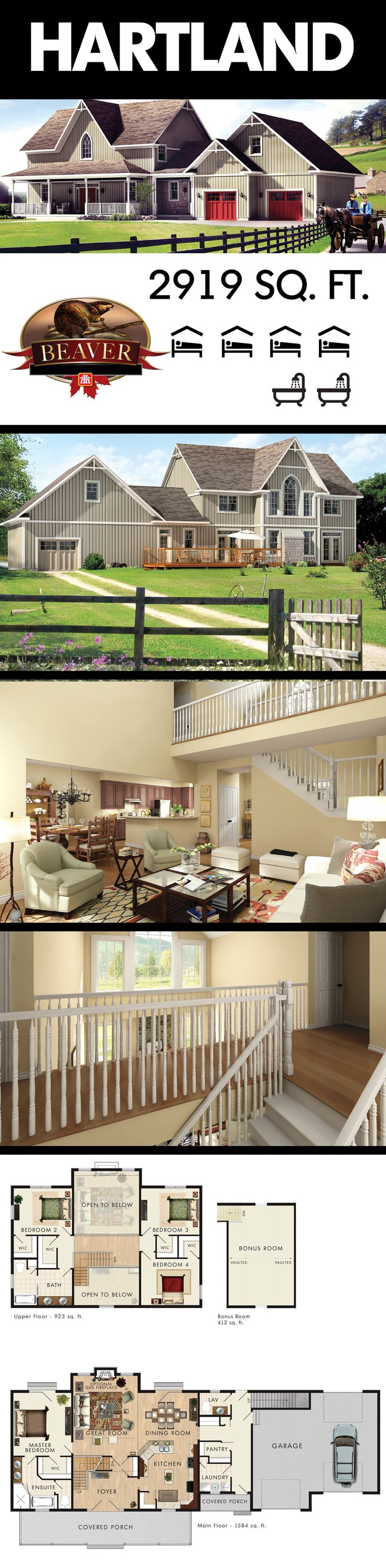 #BeaverHomesAndCottages introduces you to the superior Hartland. The use of space is maximized in every inch of this country home.