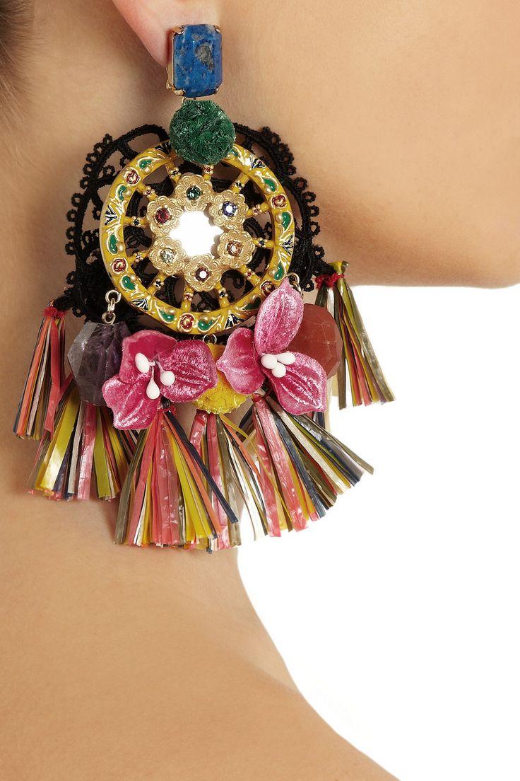 Dolce & Gabbana|Ruota Carretto gold-plated tasseled clip earrings|NET-A-PORTER.COM