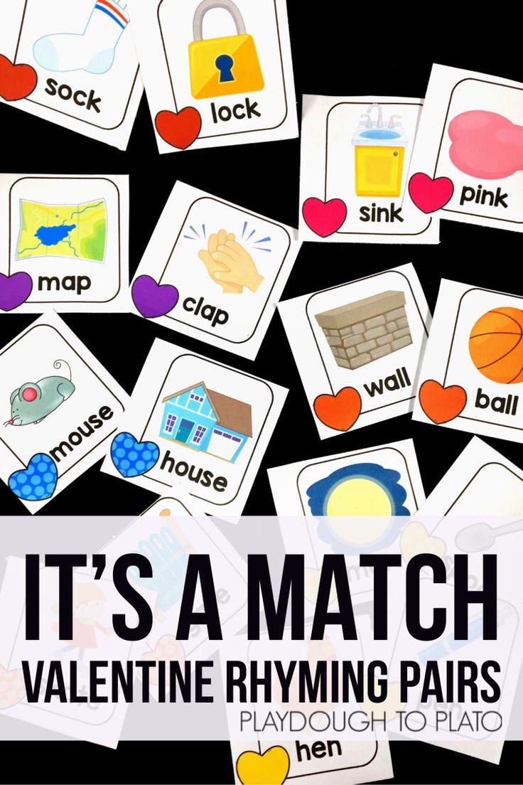 Valentine Rhyming Match Up - Playdough To Plato