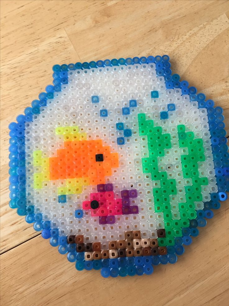 Super cute Perler bead fish tank