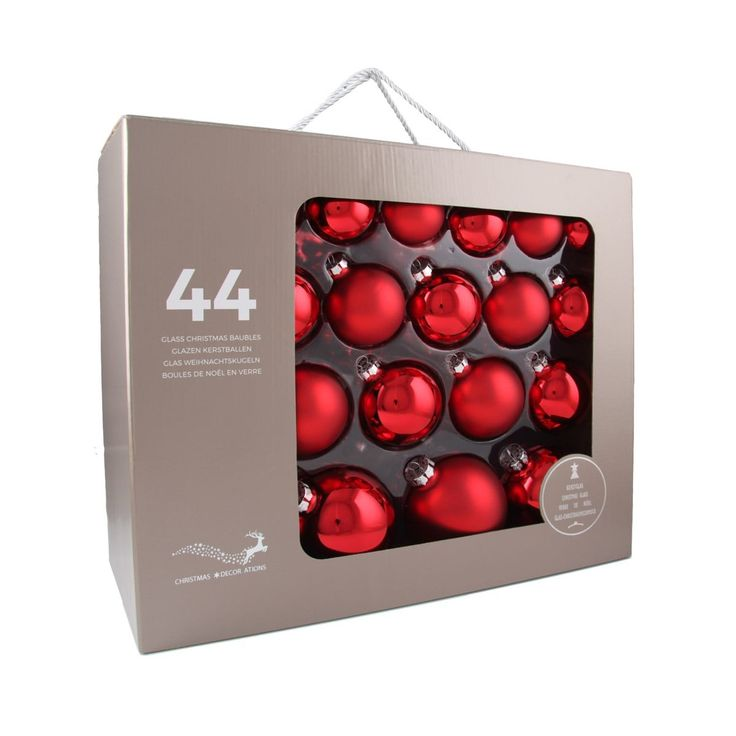 44-piece glass Christmas baubles set, matt and shiny Christmas red assorted. The set consists of 14 baubles with a 6cm diameter, 12 baubles with a 7cm diameter, 10 baubles with an 8cm diameter, and 8 baubles with a 10cm diameter. Supplied in a handy case.