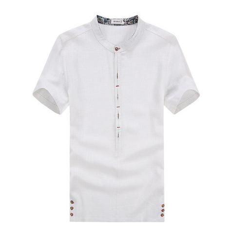 Buy Men's Short Sleeve Shirts High Quality Linen Shirt Plus Size Men's Shirt at LeStyleParfait.Com for only $28.00 USD