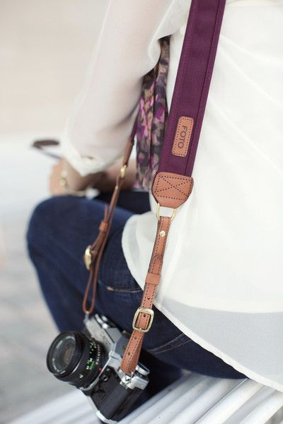 The Merlot Fotostrap - canvas and leather camera strap with optional custom monogramming on the leather shoulder pad.