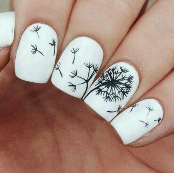 A simple two colored Dandelion inspired nail art. Using white as the base color, black silhouettes of Dandelions are painted on top looking as if the wind has blown off its petals and transported them to the nearby nails.