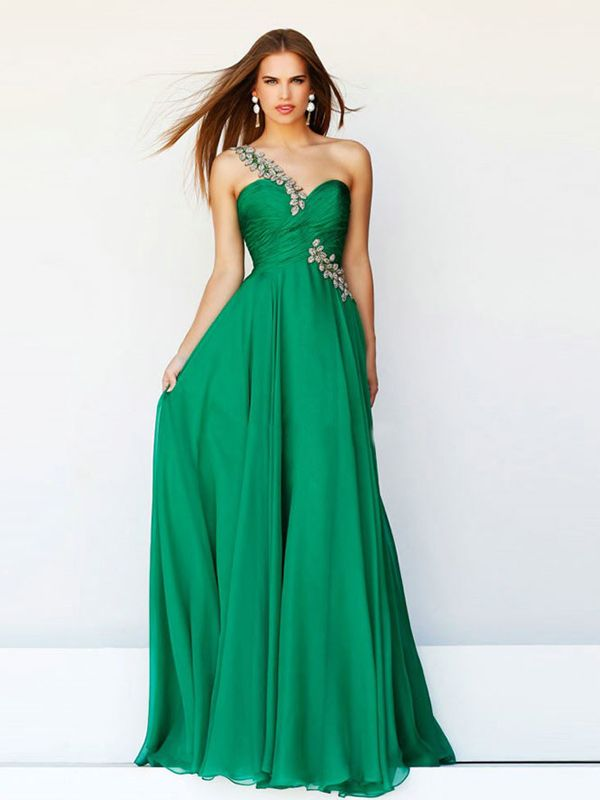 A-line One Shoulder Sleeveless Chiffon Prom Dresses/Evening Gowns With Beaded #BK277