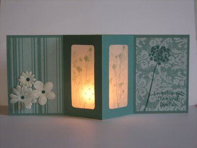 Would look great as a Christmas Card - vellum panel plue electronic tealight