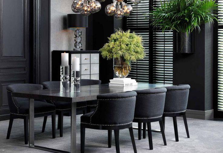 Во всех интерьерах Eichholtz прослеживается исключительность, истинная элегантность и неподдельная роскошь, а каждая деталь в них имеет свой смысл. Волшебных снов! обеденный стол, стулья, столовая зона, обеденная зона, черный интерьер, Роскошный интерьер Eichholtz, luxury Eichholtz interior, мебель, освещение, аксессуары, гостиная, living room, furniture, lighting, accessories #eichholtz #эйхольц #idcollection