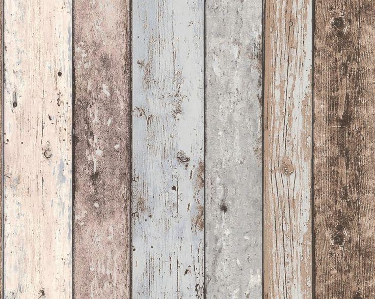 En ik zou 1 wand met dit sloophout-behang (waarin ook tinten blauw zitten) doen. Wat ook mooi is om het als lambrisering bij bijvoorbeeld het eetgedeelte onder met dit behang te beplakken en boven te verven.   www.behangwereld.nl   #leenbakker