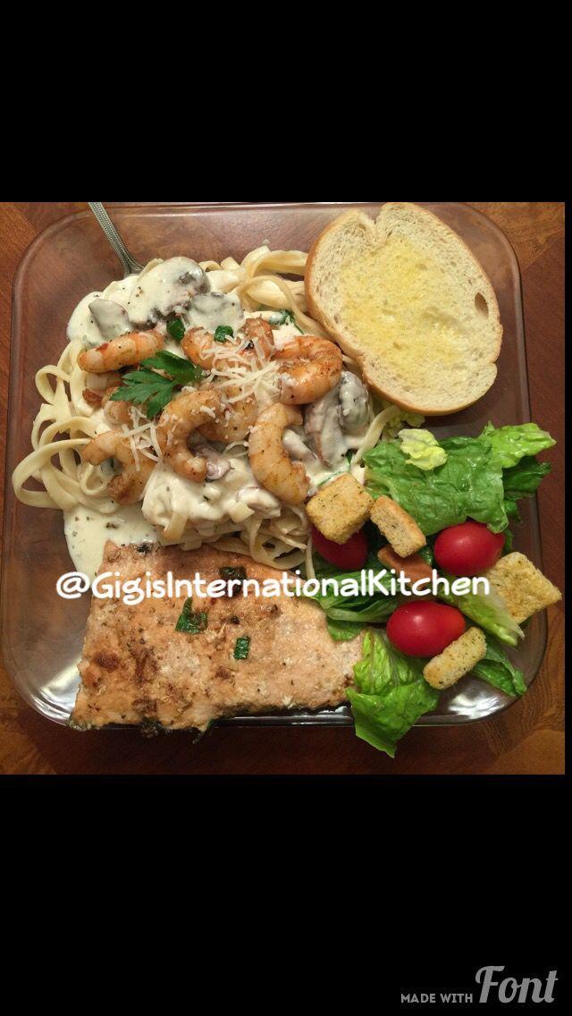Rasta Pasta! ( Jerk Shrimp Pasta ) w/ salmon, salad & bread. Created by @chong_fu_4u - Kristie Chong #jerk #shrimp #rasta #pasta #jamaican #caribbean #food #foodie #recipe #chef #salmon #seafood