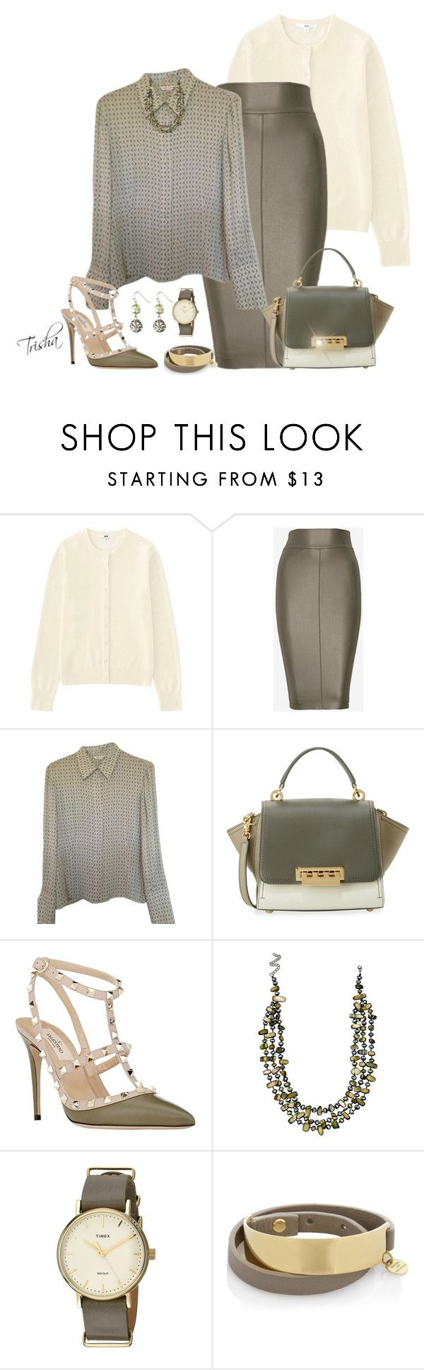 """Workwear"" by pkoff ❤ liked on Polyvore featuring Uniqlo, Bailey 44, St. John, ZAC Zac Posen, Valentino, Mixit, Timex, Marjana von Berlepsch and Avenue"