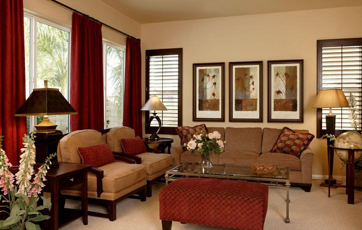 Loved the rich red and deep browns with taupe.  Warm and luxurious