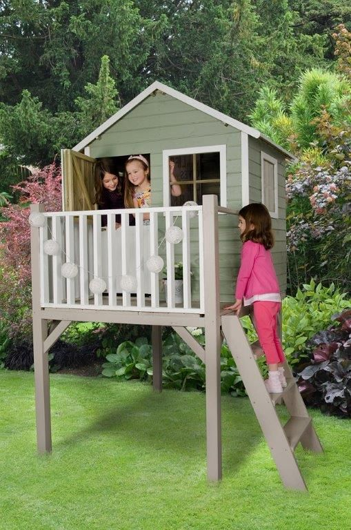 Fortified tower playhouse. A great fun playhouse with the added thrill of being a full 1 metre off the ground. Raised platform features sturdy 3-step ladder access and viewing deck to the front.