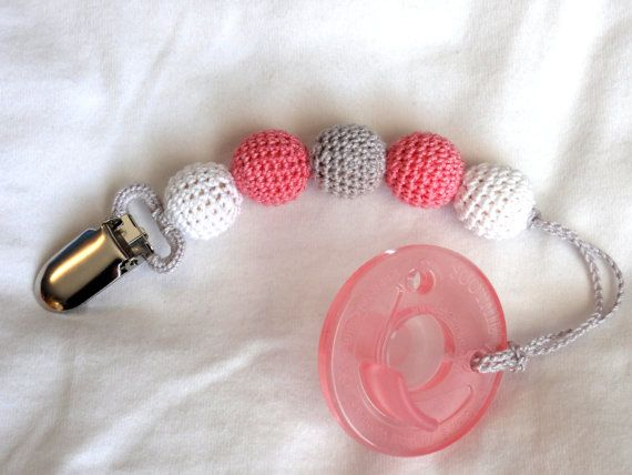 Crochet Beaded Girl Pacifier Clip, Natural Teether - Pink/White/Gray on Etsy, $9.00
