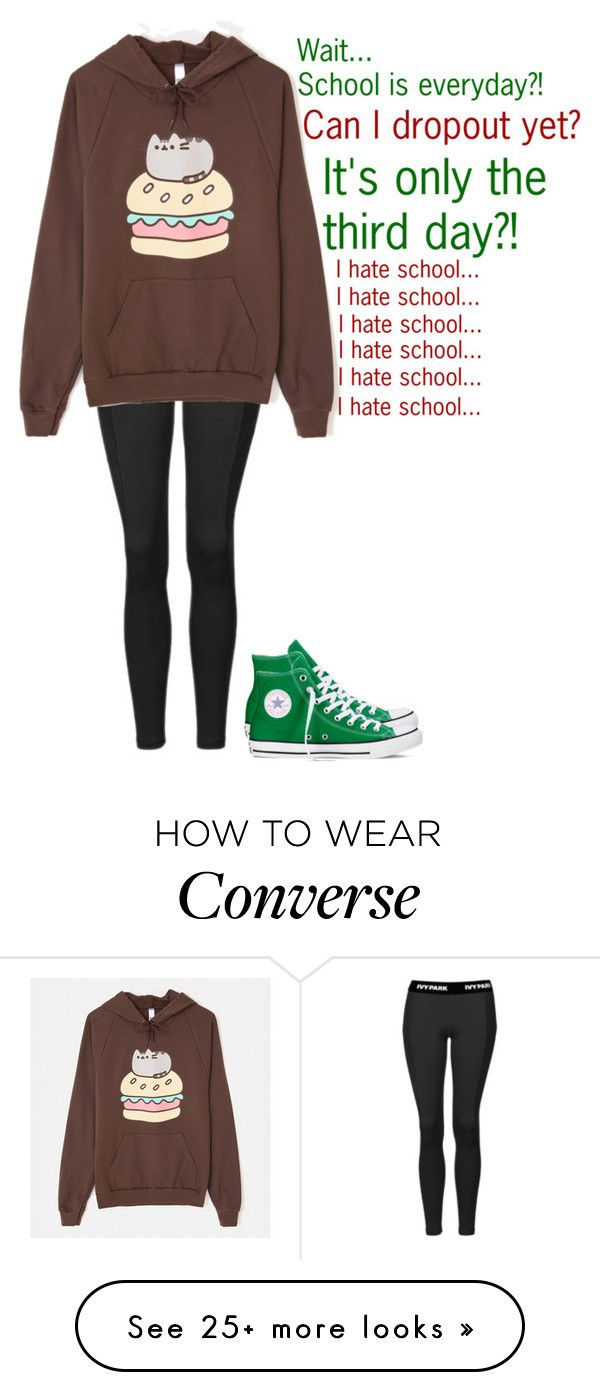 """""""My thoughts every school morning..."""" by camjensen on Polyvore featuring Topshop, Pusheen and Converse"""