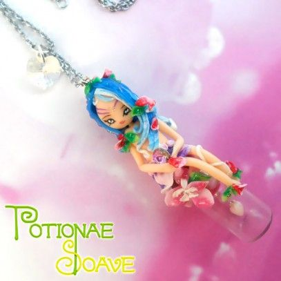 Potionae Soave (mod.2)  Nature fairy, decorated with original Swarovski crystals and three small hearts inside a tiny bottle. Necklace completely handmade, 100% Mad...