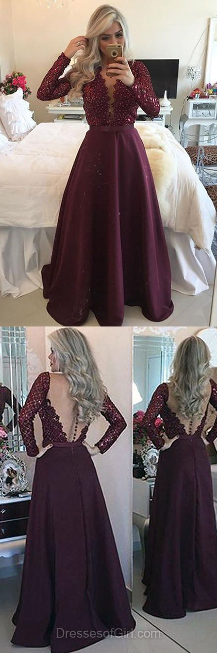 Maroon Prom Dresses, Long Sleeve Prom Dress, Chiffon Evening Dresses, Open Back Party Dresses, Aline Formal Dresses