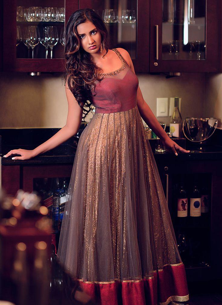 Poshaac Maroon N Gold Color Anarkali Gown